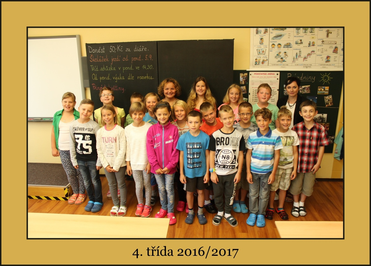 4. třída školního roku 2016/2017 s paní učitelkou Janou Šmehlíkovou