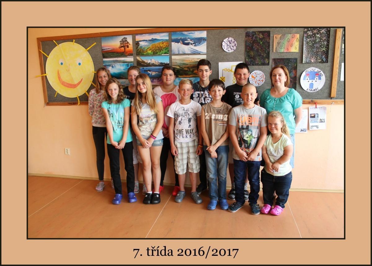 7. třída školního roku 2016/2017 s paní učitelkou Alicí Křížovou