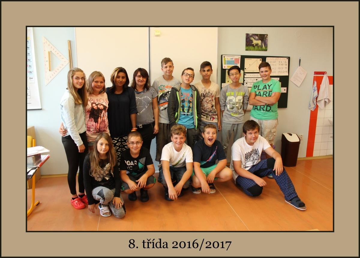 Osmá třída školního roku 2016/2017 má 13 žáků a paní učitelku Hanu Tesárkovou.