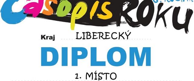 Diplom za 1.místo časopisu KRAVINKY ve školním roce 2011/2012 v Libereckém kraji.